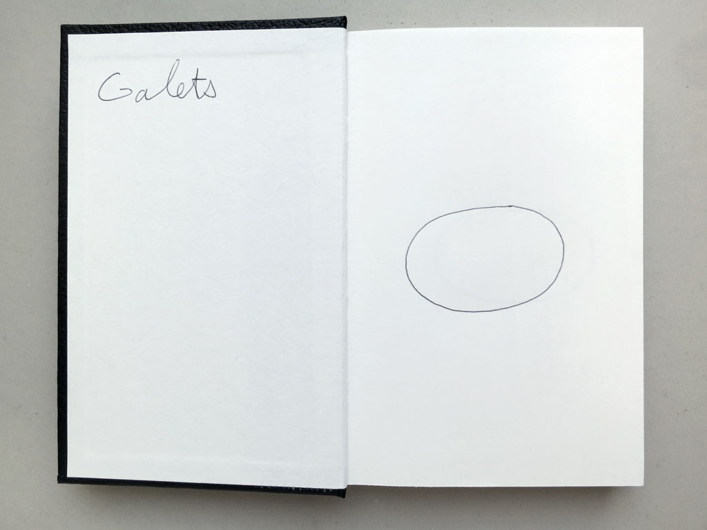 Claude Closky, 'Galets [Pebbles]', 1996, black ballpoint pen on sketch book, 200 pages, 21,5 x 14,5 cm.
